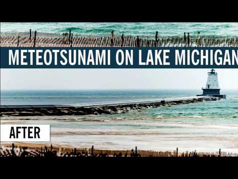 Tsunami (seiche) on lake michigan