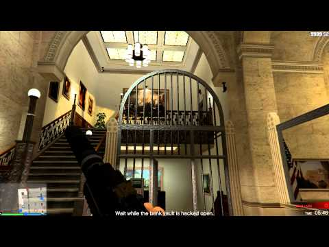 Grand Theft Auto V -Bank Robbery Heist Game play- First Person Only