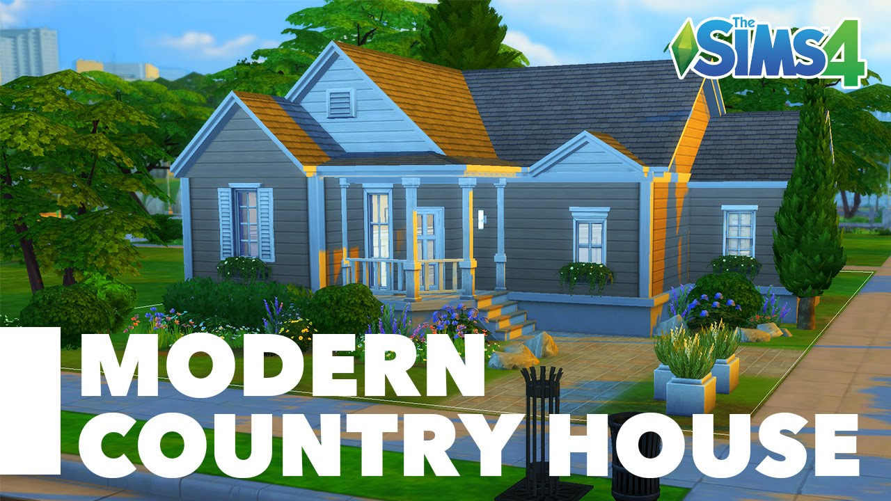The sims 4 speed build modern country house youtube for Build country home