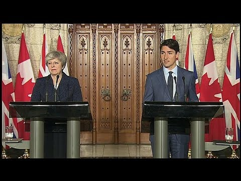 Prime Ministers Trudeau and May address the media
