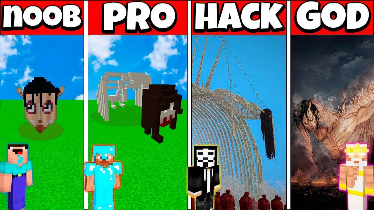 EREN FOUNDING TITAN HOUSE BUILD CHALLENGE - NOOB vs PRO vs HACKER vs GOD Minecraft Animation