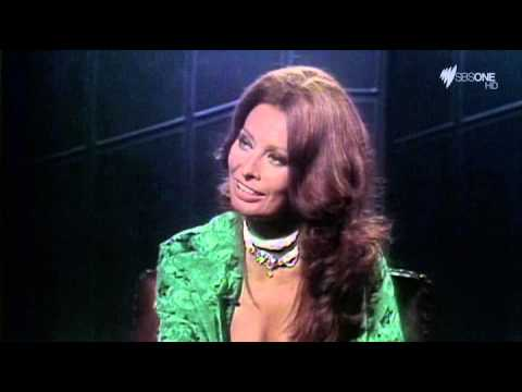 Sophia Loren teasing Marcello Mastroianni on TV