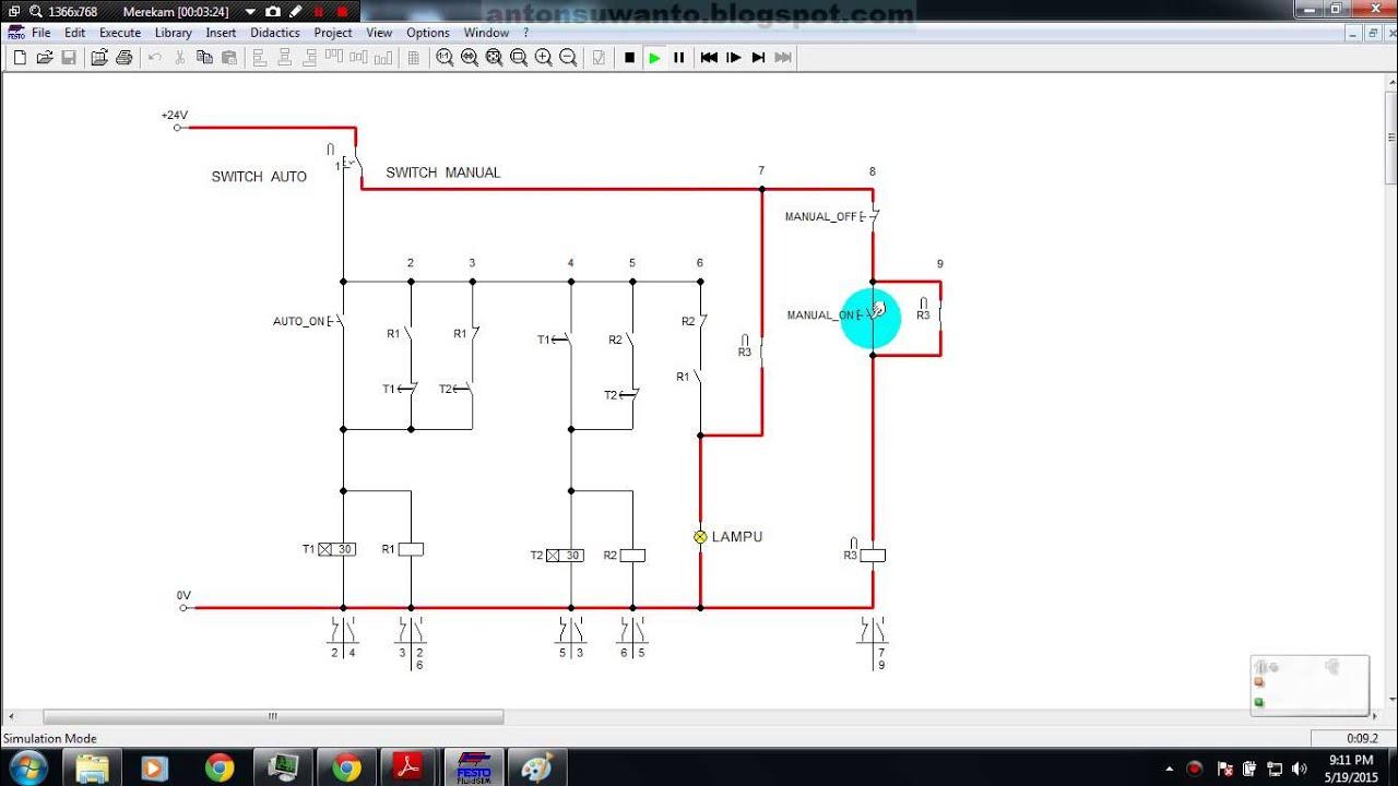 Simulasi Rangkaian Kontrol On Dan Off Lampu Automatis Dengan Timer Relay