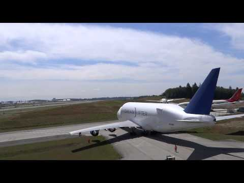 Boeing Dreamlifter (modified 747) being moved at Snohomish C
