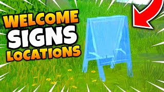 Fortnite WELCOME SIGNS Locations - Place Welcome Signs in Pleasant Park and Lazy lake