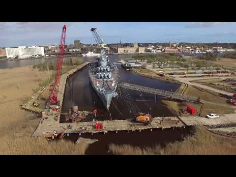 Battleship USS North Carolina Flyover (Cofferdam And Walkway Construction - Feb 2017)