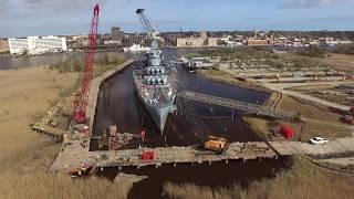 Battleship USS North Carolina Flyover (Cofferdam and Walkway Construction - Feb 2017)