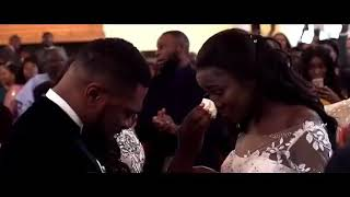 Crying Emotional Christian Black Couple on their Wedding day