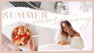 SUMMER MORNING ROUTINE   Staying healthy + balanced at home! ✨