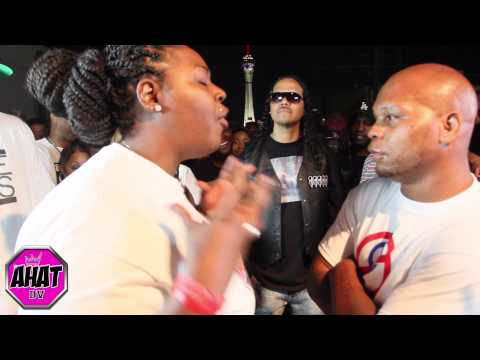 Danny Myers vs female rapper Unique Barrz | rap battle | AHAT DV co-host Jayo Felony