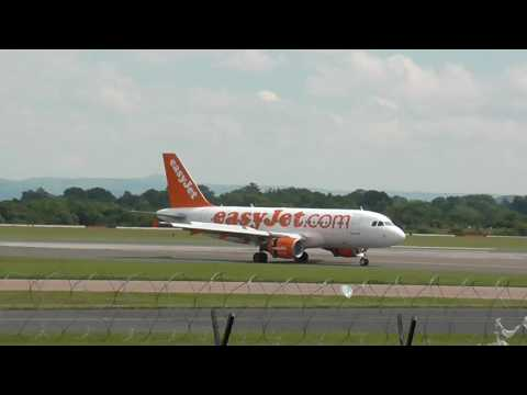 A Easy Jet Plane At Manchester Airport.