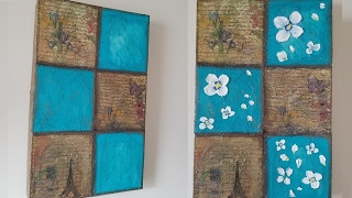 DIY cuadro de carton  y  servilletas/ wall art idea