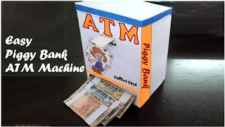 How to make Easy Piggy Bank ATM Machine at Home DIY for kids