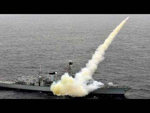 Royal Navy Type 23 Frigate HMS Montrose (F236) Fires Harpoon Anti-Ship Missiles