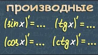 ПРОИЗВОДНЫЕ тригонометрических ФУНКЦИЙ 10 11 класс