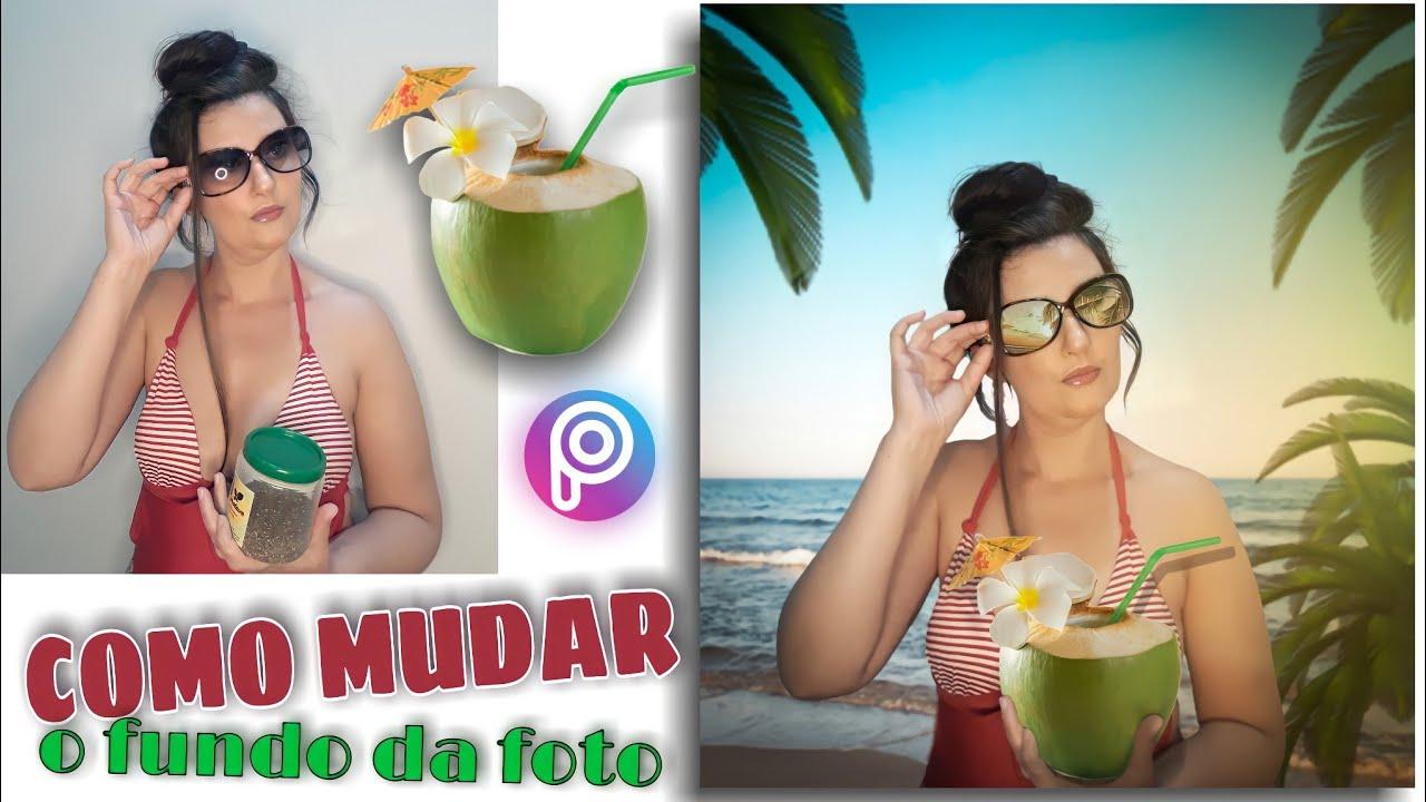🌴 Como mudar o fundo da foto edição praia 🥥 Tutorial Picsart por @dicasetruquesoficial 🏝