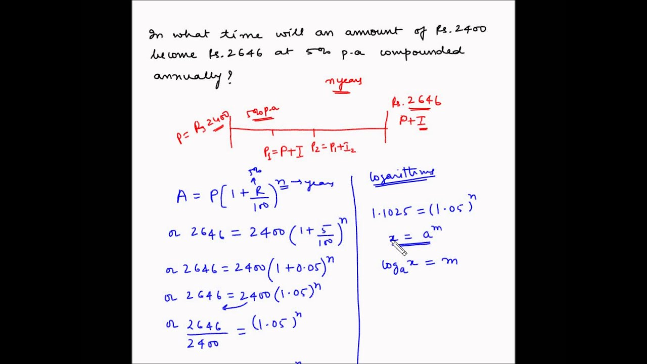 compound interest example 7 calculate time period youtube
