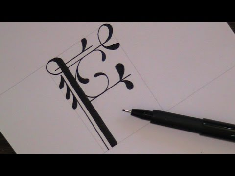 cursive fancy letters - how to write fancy letter F - for beginners