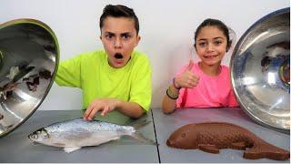 Chocolate Food vs Real Challenge ! Family Fun Video