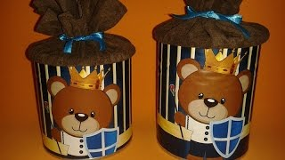 Passo a passo da lata decorada com o tema ursinho