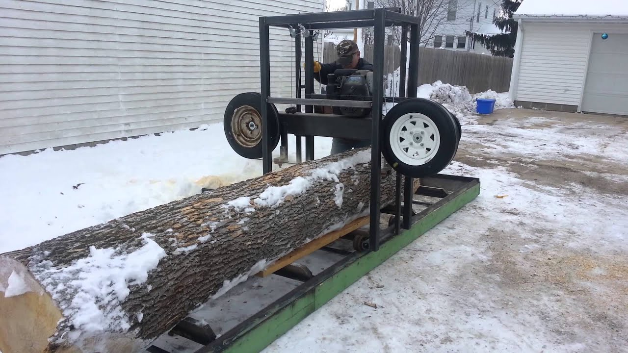 Saw Mill For Sale >> Home made sawmill 1st cut - YouTube