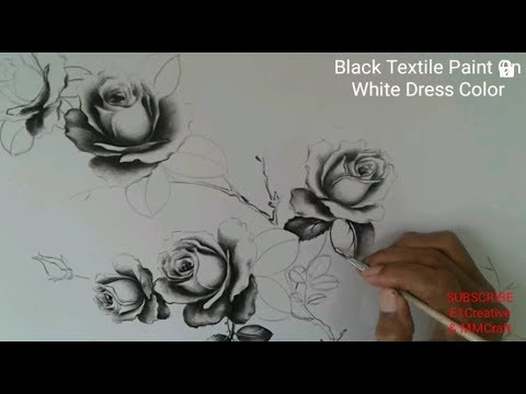How To Paint Black Rose On White Fabric Painting Dress Black And