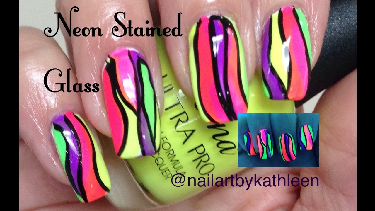 Easy Neon Stained Glass Nail Art Tutorial - YouTube