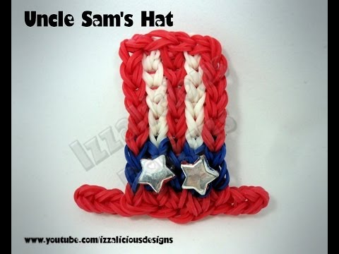 Rainbow Loom Uncle Sam's Top Hat Charm -4th July/Independence Day - Gomitas