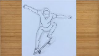 How To Draw A Boy Skaing || Pencil Sketch Drawing