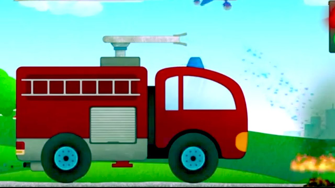 car cartoon for kids cartoon trucks fire truck police car ambulance garbage truck cartoon youtube