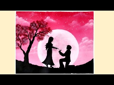 Easy Acrylic Painting for Beginners | Night Scenery Painting |Moonlight couple Painting |Pink