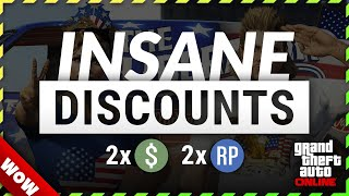 GTA DOUBLE MONEY & INSANE DISCOUNTS | GTA ONLINE Weekly DOUBLE RP and CASH BONUSES (Hangars -70%)