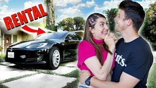 Surprising My Girlfriend With A Tesla But Really It's Just a Rental