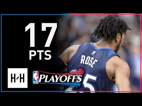 0e87ec4df901 Derrick Rose Full Game 3 Highlights Wolves vs Rockets 2018 Playoffs - 17  Points!