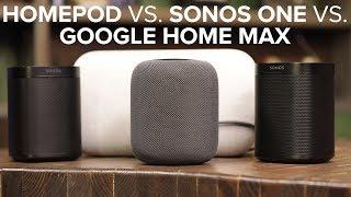 Apple HomePod vs stereo Sonos One vs Google Home Max