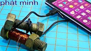 Cách sạc điện thoại bằng con ốc sắt miễn phí, 5v battery charging simple Tips 1