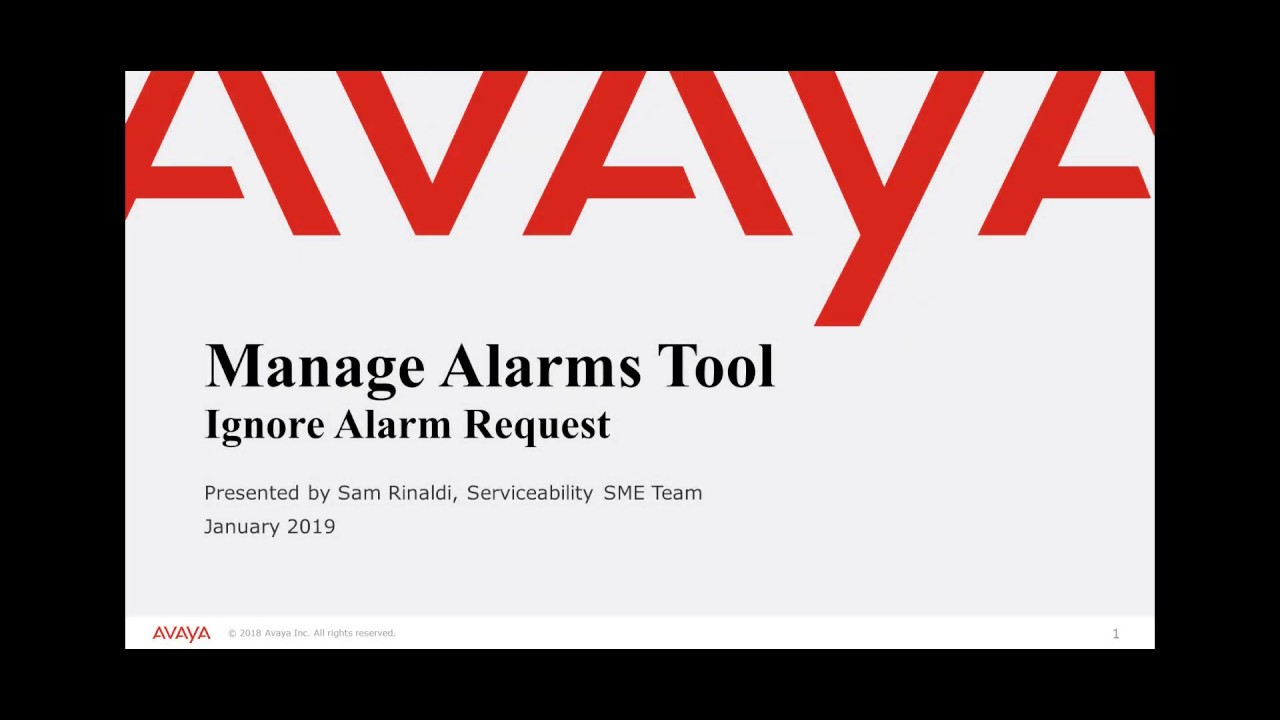 How to Ignore Alarm Request - Avaya Manage Alarms Tool
