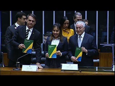 Brazil's Temer and Bolsonaro attend ceremony in Brasilia