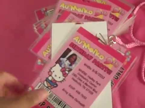 hello kitty vip pass invitations for birthday or any event