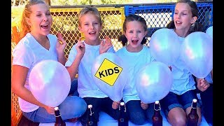 Learn English Colors! Mystery Balloon Paint Pour with Sign Post Kids!