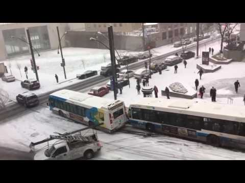 2016 snowy roads car pile-up in Montreal - now with sound effects!