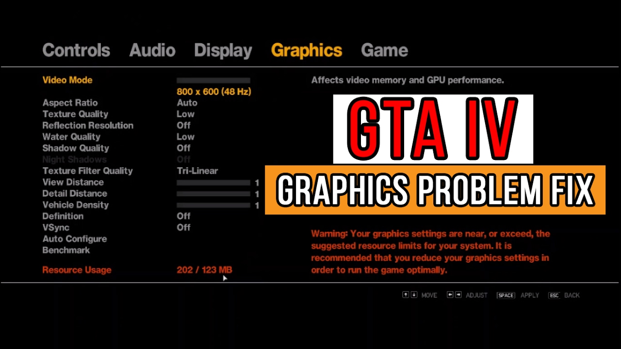 GTA IV - Commandline txt | Fix Graphics Settings Error | LowSpec PC | Intel  HD 5500