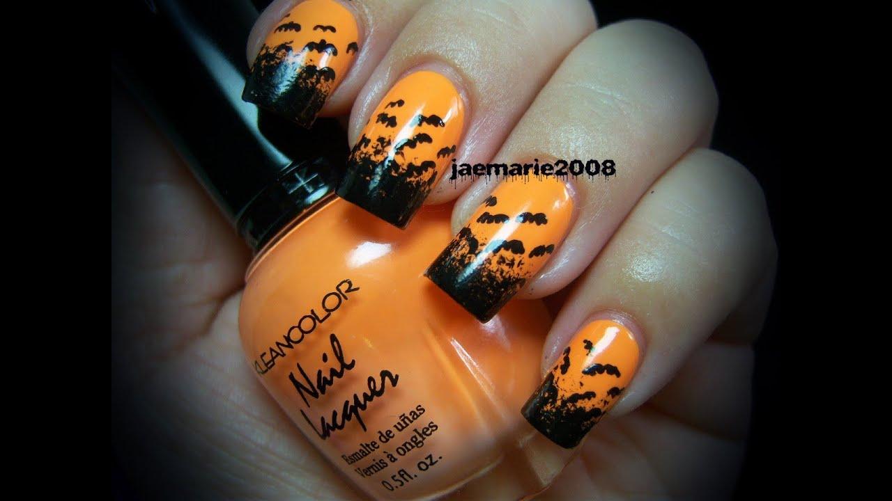 halloween nail design bats