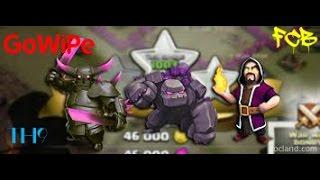 Clash of Clans   TH9 GoWiPe golem / wiz / pekka war attacks 3 replays 9 stars