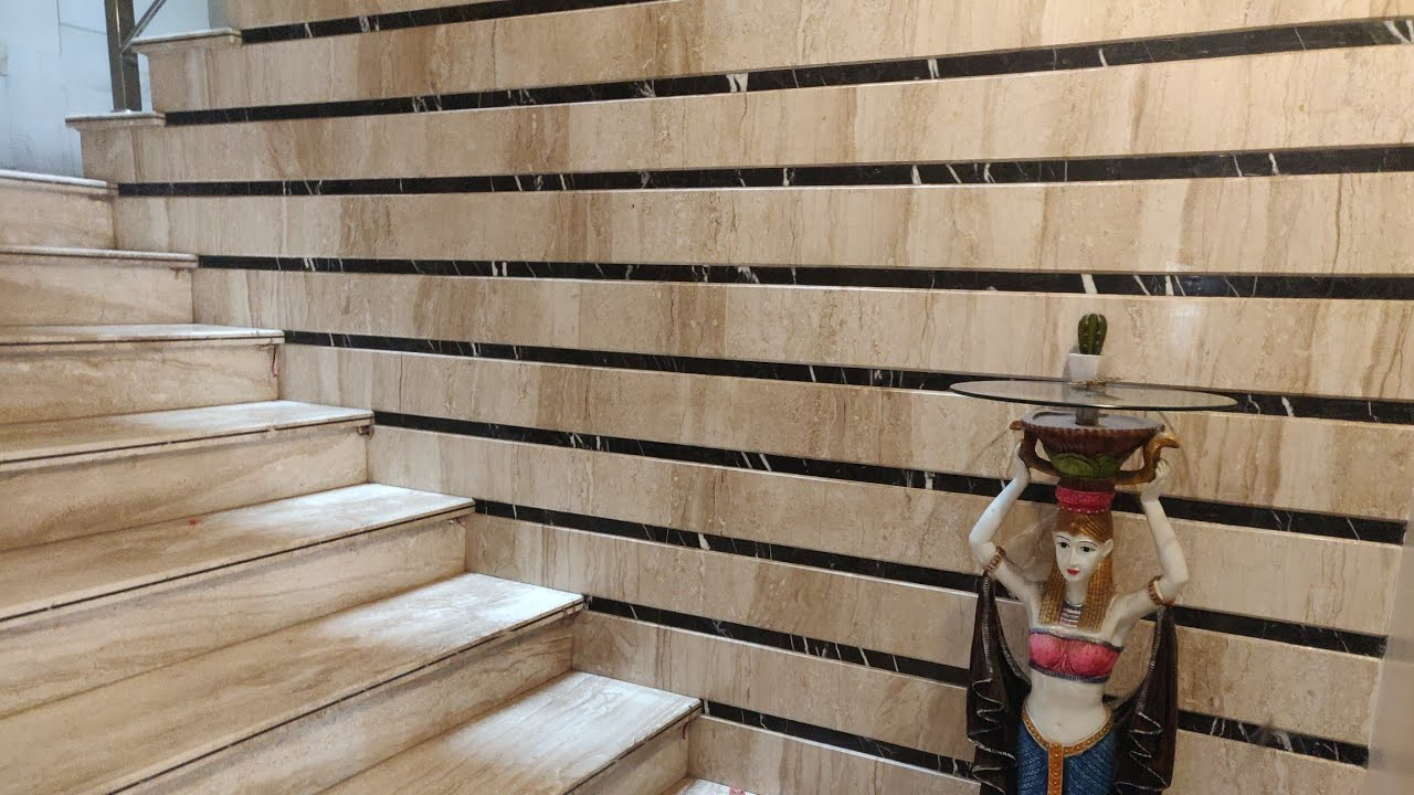 Duplex House Staircase And Railing Wall Tiles Design With Price | Stairs Wall Tiles Design | Main Entrance Wall Tile | Exterior | Two Story House Stair | Wall Flat | Residential