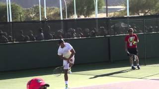 Уроки тенниса. Подача в замедленном повторе