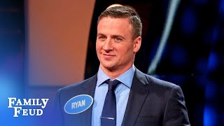 Ryan Lochte and Kevin Eubanks battle at the podium!   Celebrity Family Feud
