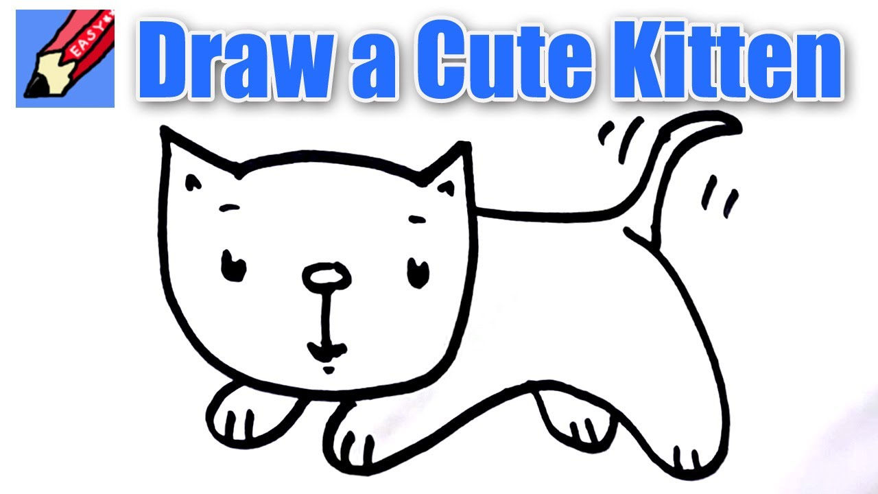 How to draw a cute kitten real easy - for kids and ...