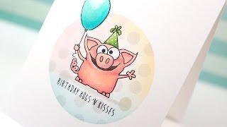 Copic Markers & Simon Birthday Farm Animals - Color Wednesday #53