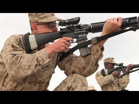 Marine Corps Recruits Fire M16A4 Rifles